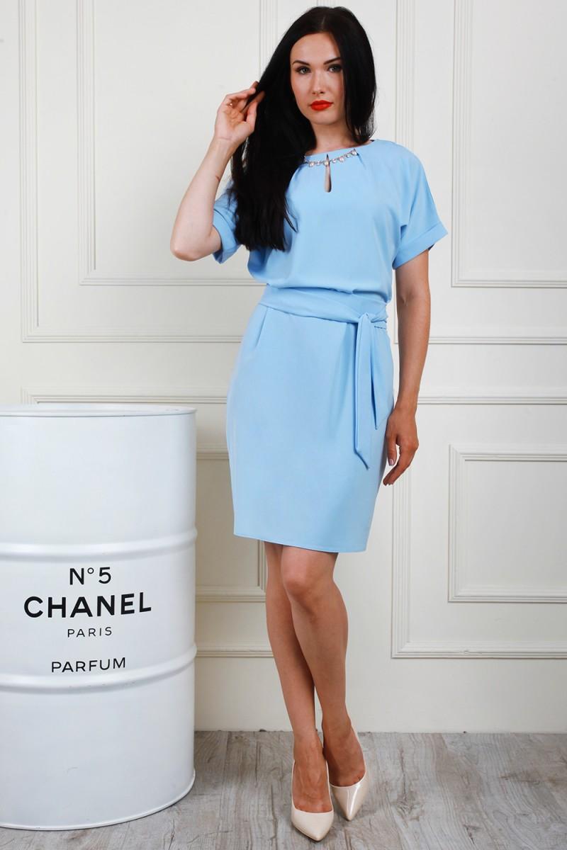 Платье полубатал 694-01 цвет голубой