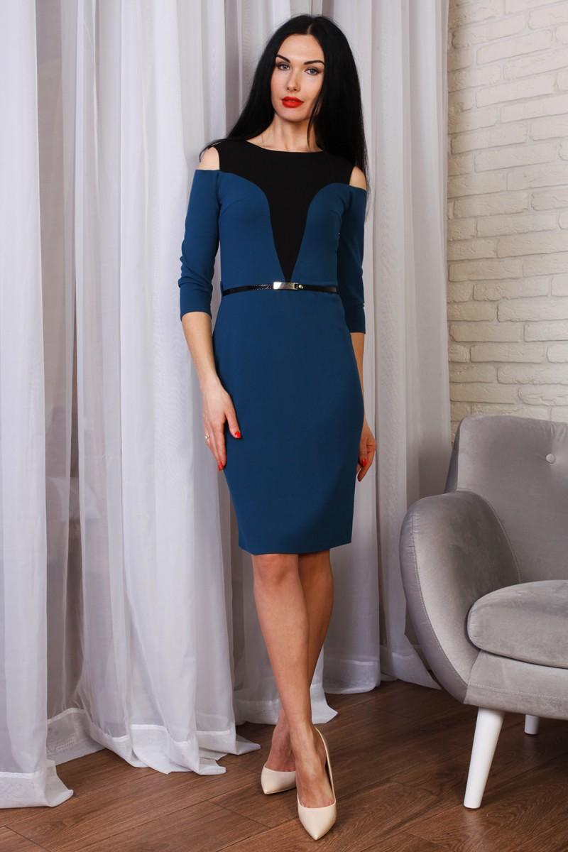 Красивое весеннее платье 771-02 морская волна