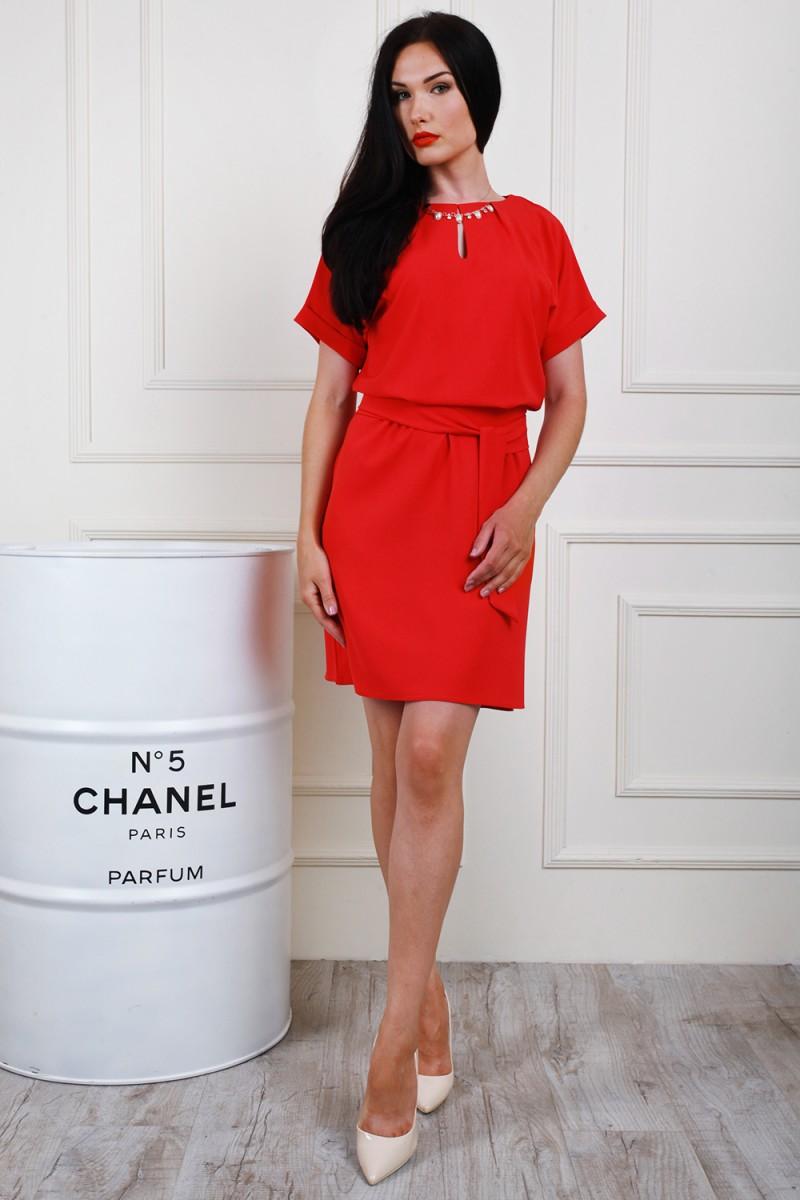 Платье полубатал 694-04 цвет кораллово-красный