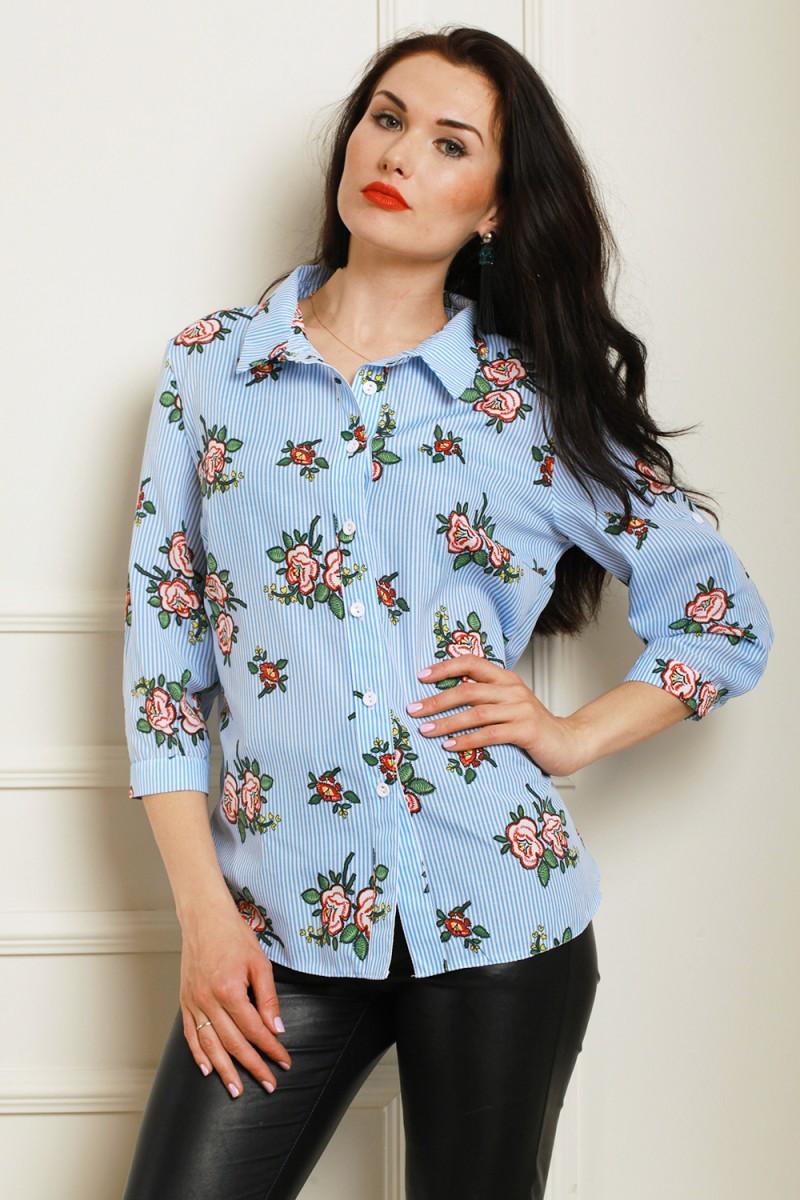 Рубашка батал 564-02 цвет голубой/белый