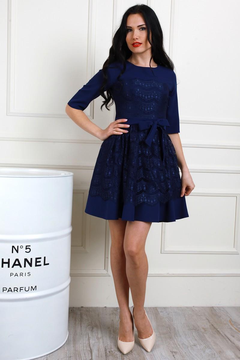 Платье 655-02 цвет синий индиго/синий
