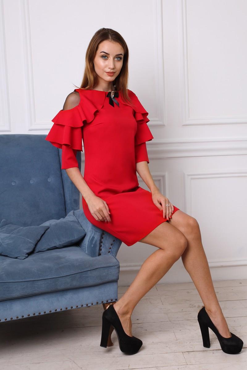 Платье 745-01 цвет красный