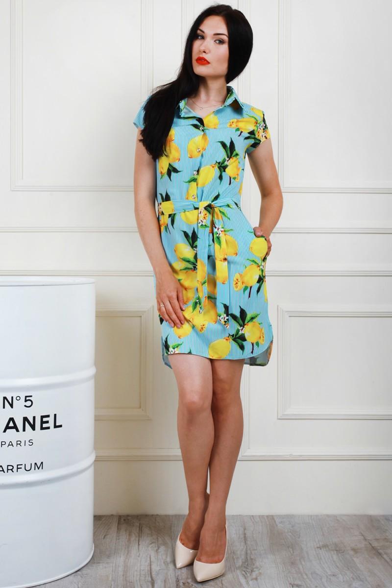 Платье 697-02 цвет голубой-лимонный