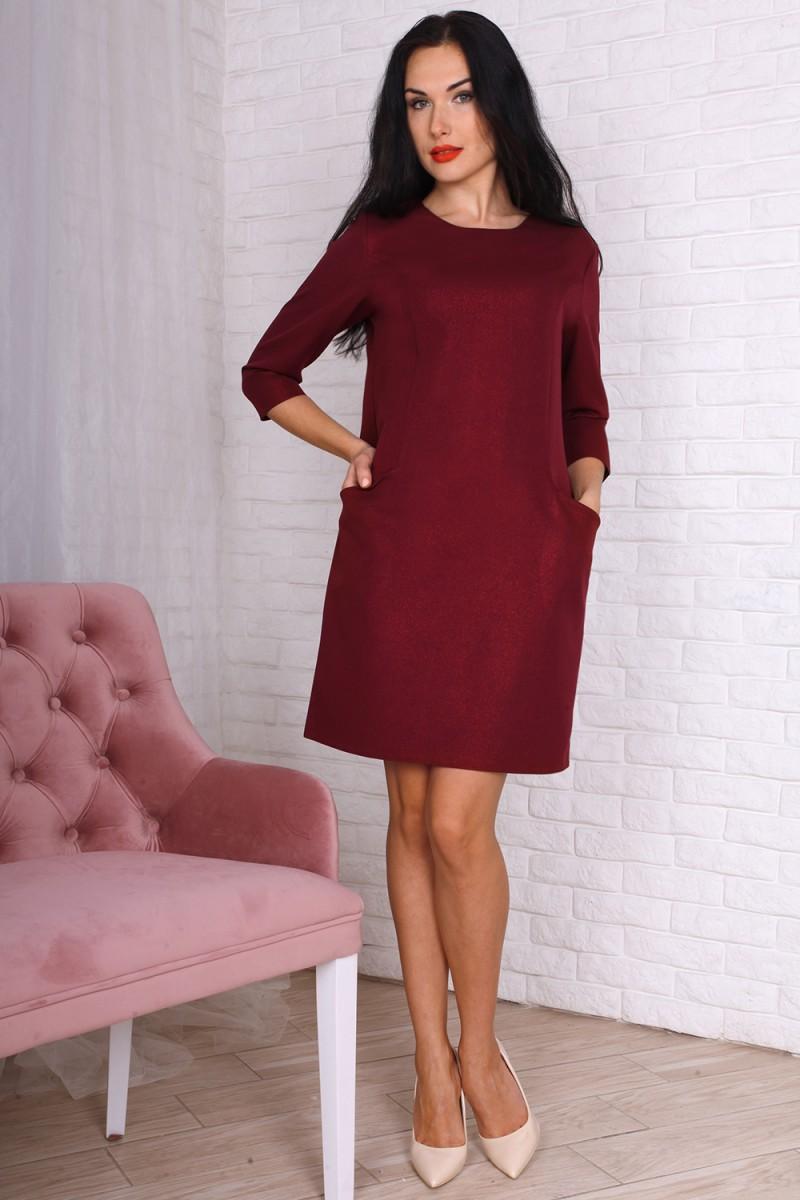 Платье полубатал 758-03 цвет марсал