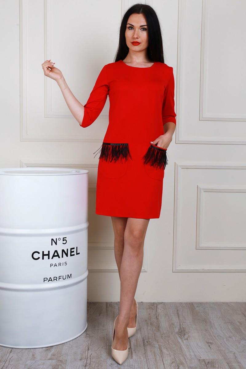 Платье 653-03 цвет красный