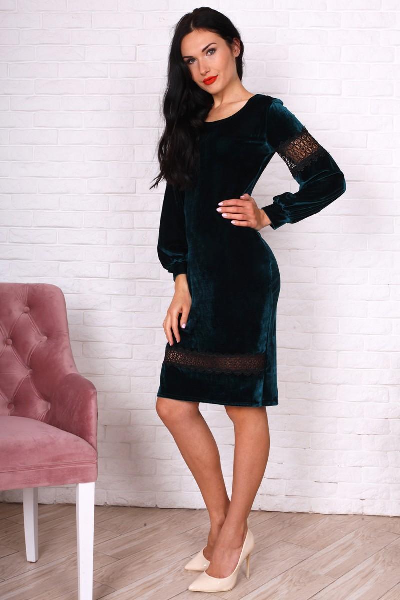 Платье 753-04 цвет бутылочный