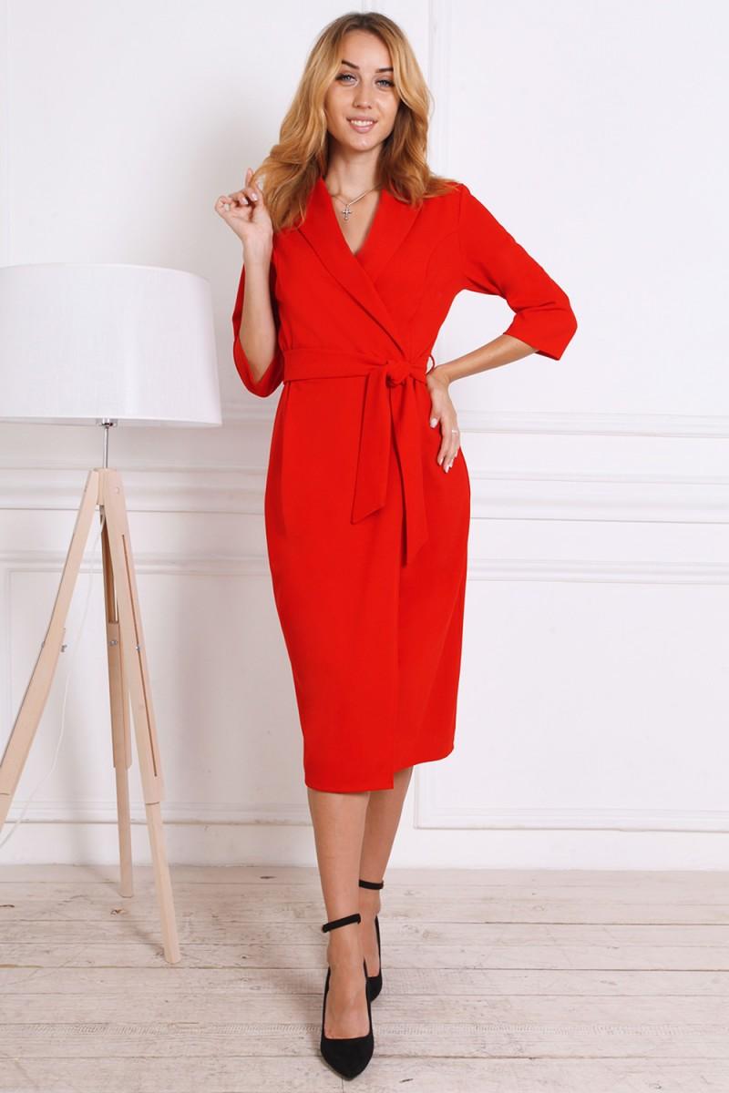 Платье на осень 811-01 красного цвета
