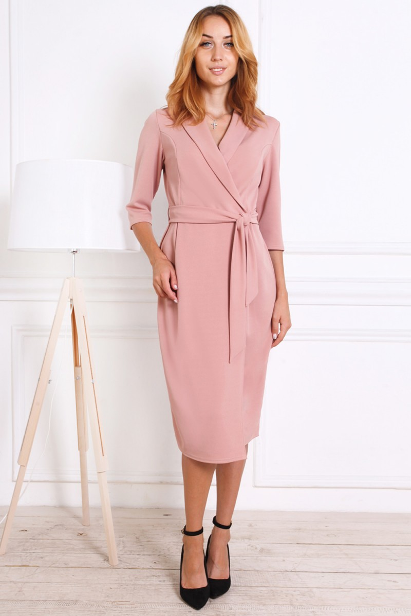 Платье на осень 811-01 розового цвета