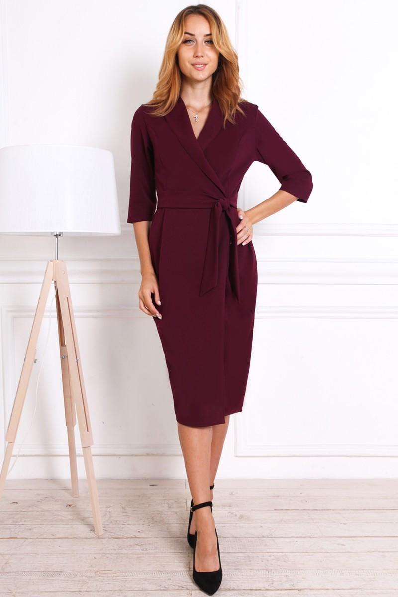 Платье на осень 811-01 бордового цвета