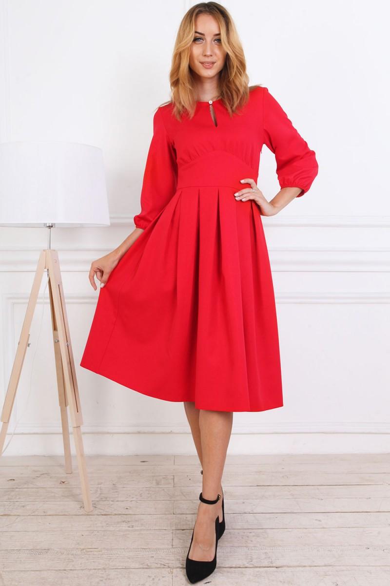 Осеннее платье 813-04 красного цвета