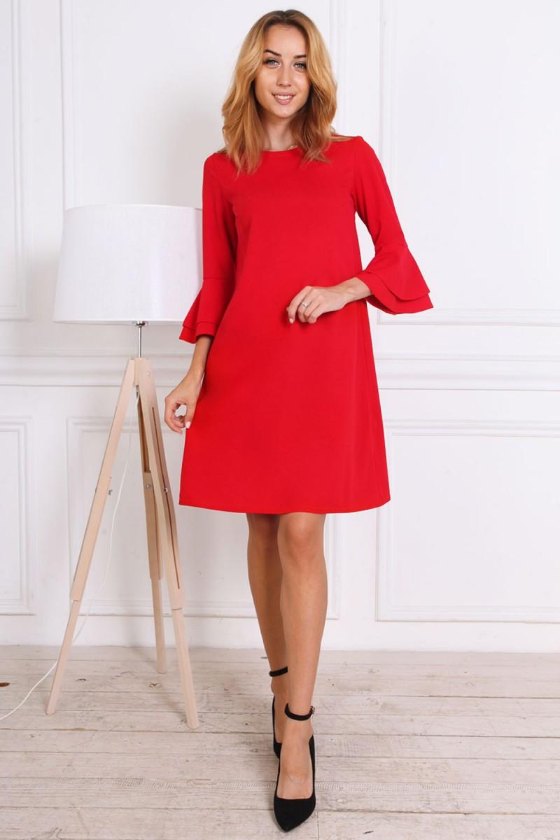 Платье осень-зима 815-01 красного цвета
