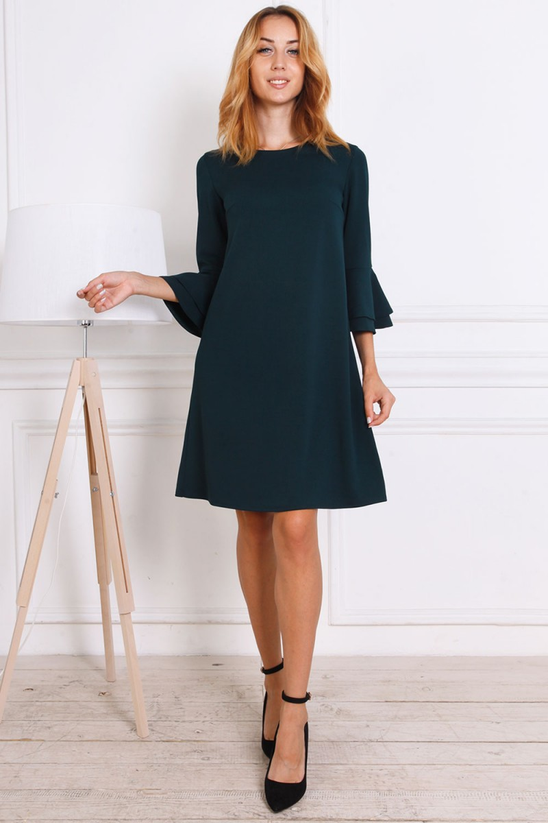 Платье осень-зима 815-04 изумрудного цвета
