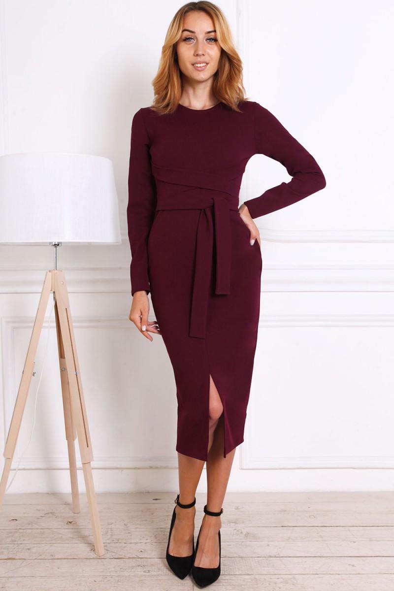 Женское платье 816-01 цвета марсал