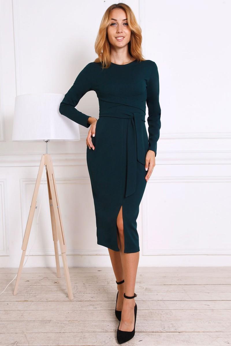 Женское платье 816-03 изумрудного цвета