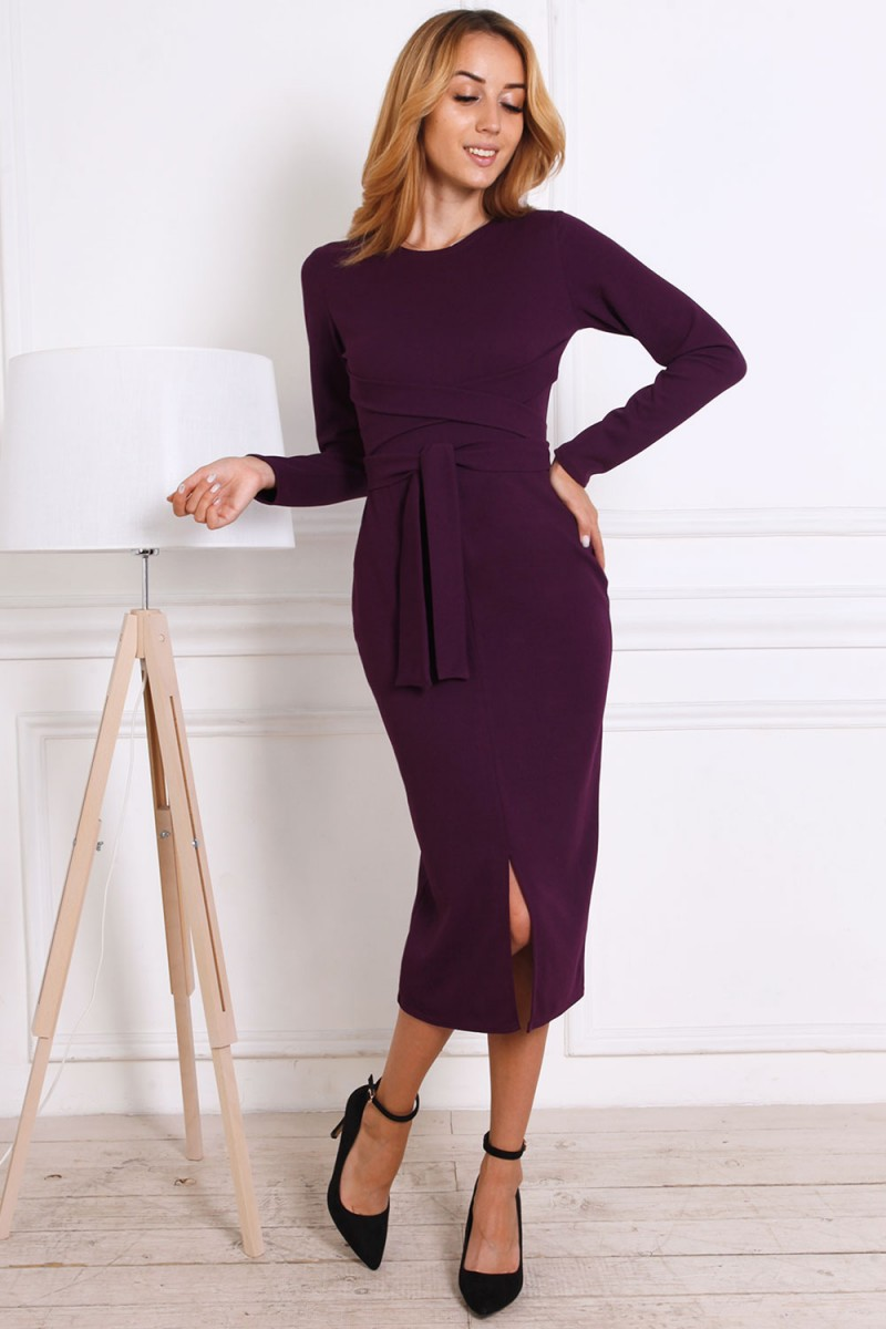 Женское платье 816-04 цвета баклажан