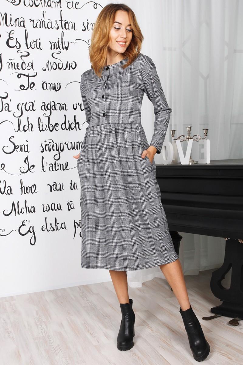 Оригинальное длинное платье 819-01 серого цвета