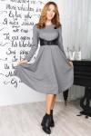 Осеннее длинное платье 821-01 серого цвета