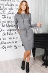 Осеннее деловое платье 822-01 серого цвета
