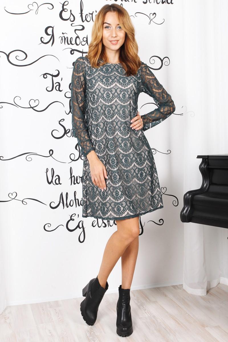 Нарядное осеннее платье 823-01 бутылочного цвета