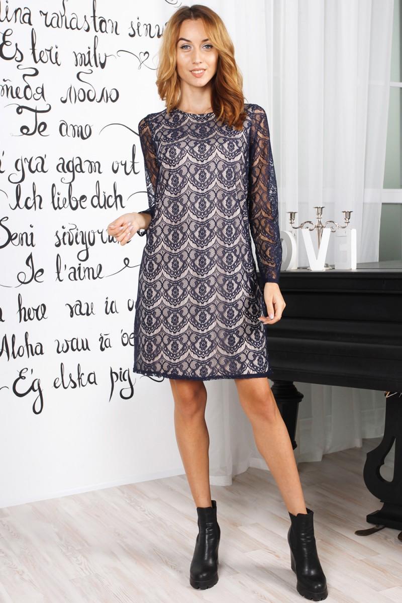 Нарядное осеннее платье 823-03 синего цвета