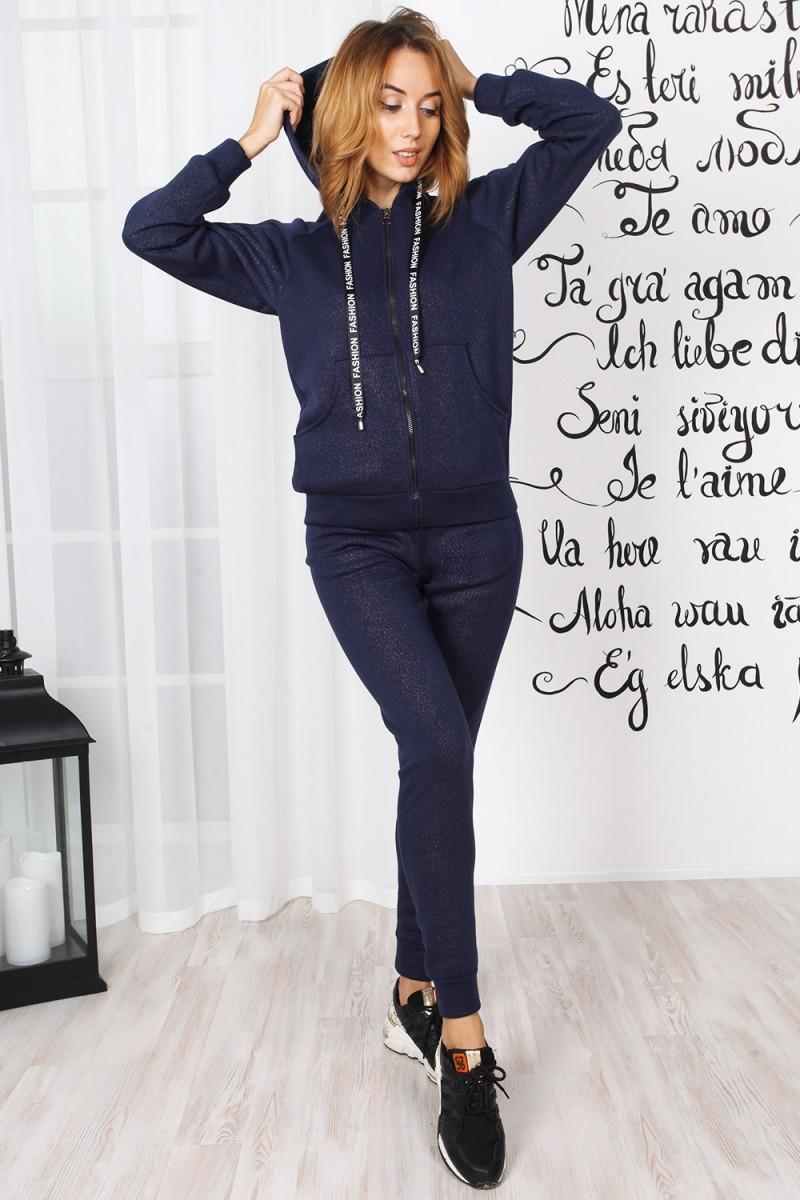 Женская кофта с застежкой 826-03 синего цвета